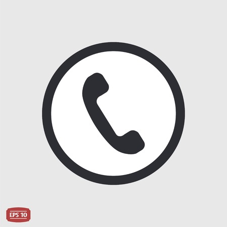 pleased: Call Button. Phone Icon. Handset Icon. Flat design style. Made vector illustration