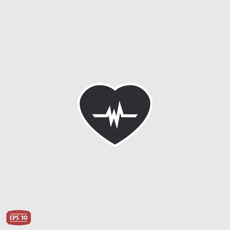 oscillate: Icon heart with pulse. Flat design style. Made vector illustration Illustration