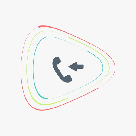 pleased: Call Button. Incoming call. Phone Icon. Handset Icon. Flat design style. Made vector illustration