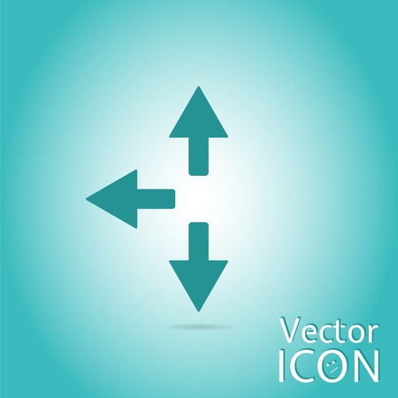groupware: Three arrows. Direction sign right, left, back. Flat Design Style. Made in vector Illustration