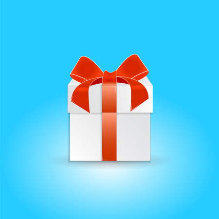 pledge: Christmas Gift box with ribbon and bow.  Made in vector illustration