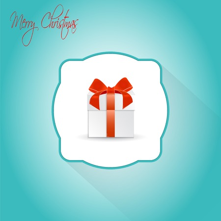 donative: Christmas Gift box with ribbon and bow.  Made in vector illustration