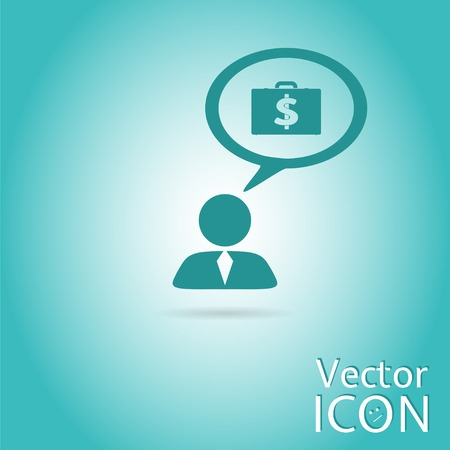 A person with a cloud. Icon dollar. Case with money. Human thought bubble above his head. Flat design style. Made in vector illustration Vector