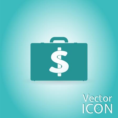 illustrator  vector: Case with money. Dollar sign. Flat design style. Made in illustrator vector Illustration