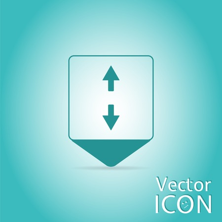 back and forth: Map pointer - two arrows. Sign of the back and forth. Flat design style. Made in vector
