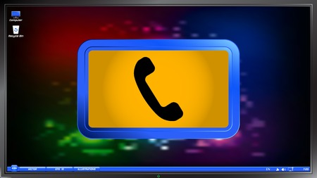 call button: Call Button. Phone Icon. Handset Icon on the screen monitor. Made vector illustration