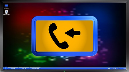 call button: Call Button. Incoming call. Phone Icon. Handset Icon on the screen monitor. Made vector illustration