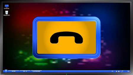 clientele: Call Button. Phone Icon. Handset Icon on the screen monitor. Made vector illustration