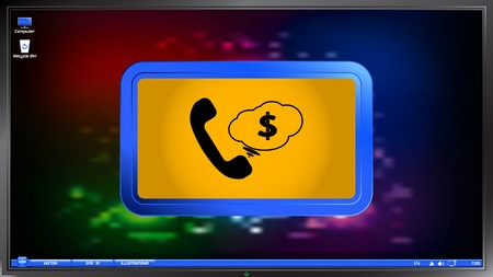 clientele: Call Button. Cloud with money. Phone Icon. Handset Icon on the screen monitor. Made vector illustration