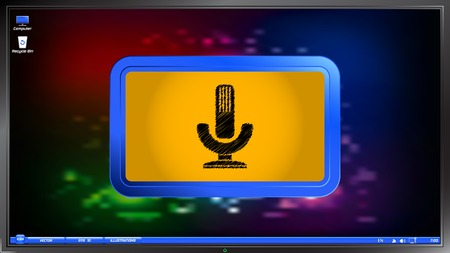 entertaining presentation: Icon microphone on the screen monitor. Scribble and hatching style. Made vector illustration Illustration