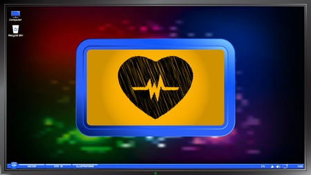 oscillate: Icon heart with puls on the screen monitor. Scribble and hatching style. Made vector illustration Illustration