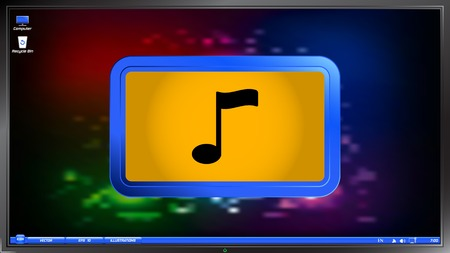 pc tune: Musical note on the screen monitor. Made vector illustration