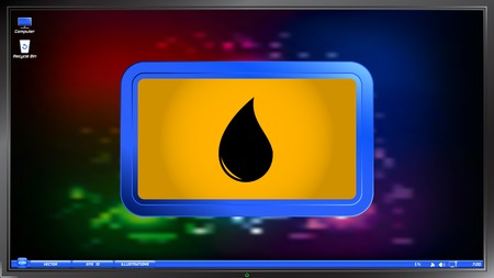 Drop icon on the screen monitor. Made vector illustration Vector