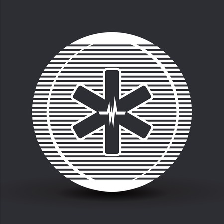 Medical sign with the pulse. Flat design style. Made in vector Vector