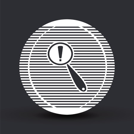 Magnifier with exclamation mark. Flat style. Made in vector Vector