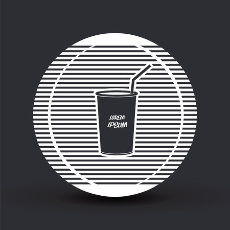 frozen drink: Glass with a drink icon and text. Flat design style. Made vector illustration