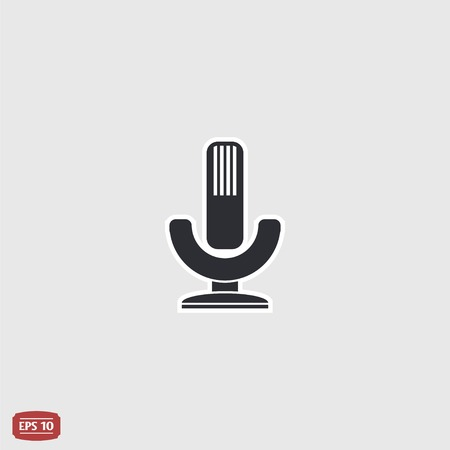 Icon microphone. Flat design style. Made vector illustration
