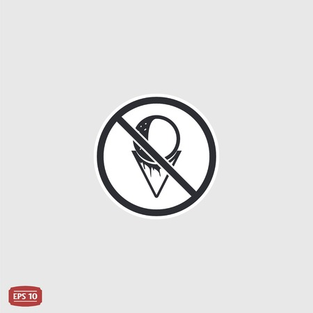 Log forbidden food. Prohibitory sign. Ice cream cone icon. Flat design style. Made vector illustration Vector