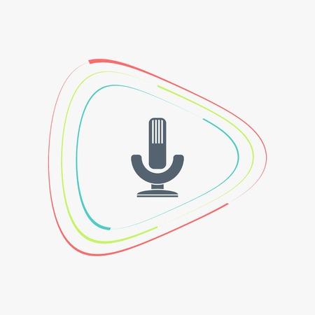 entertaining presentation: Icon microphone. Flat design style. Made vector illustration