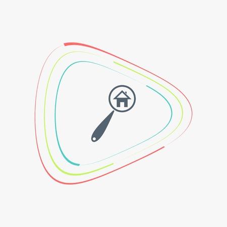 installateur: Vector zoek naar huis van thuis met vergrootglas icoon. Vlakke stijl Stock Illustratie