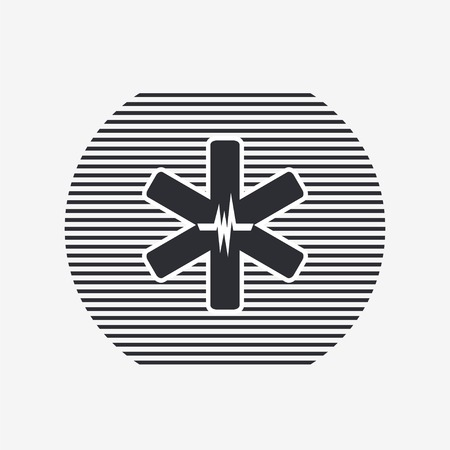 ems: Medical sign with the pulse. Flat design style. Made in vector