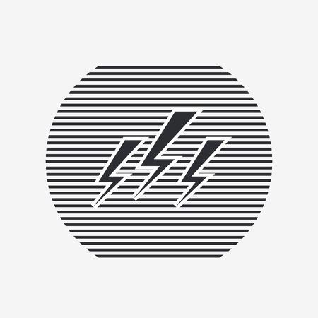 electrocute: Three lightning icon. Flat design style. Made vector illustration
