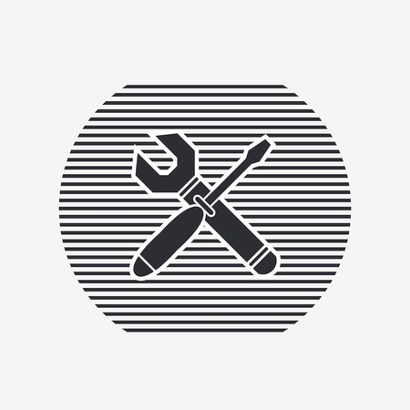 rebuild: Vector wrench and screwdriver icon. Flat design style. Illustration