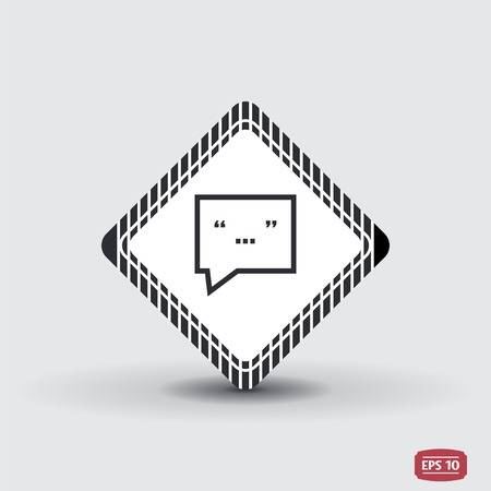 oration: Quote icon. Direct oration sign. Quotation mark in speech bubble symbol. Flat design style. Made in vector illustration