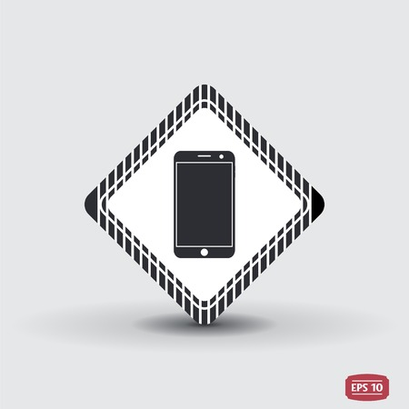 touchscreen: Mobile phone with touchscreen. Flat design style. Made in vector Illustration