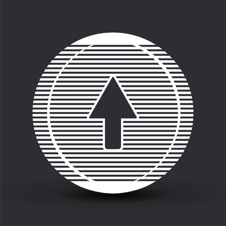 satin round: Arrow icon. Direction right or up symbol. Flat design style. Made vector illustration