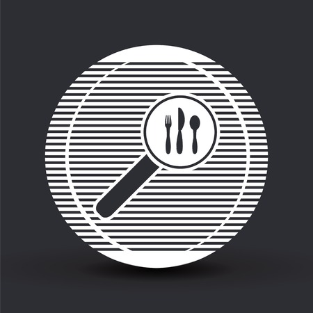 dinning: Magnifier with fork knife icon. Flat design style. Made vector illustration