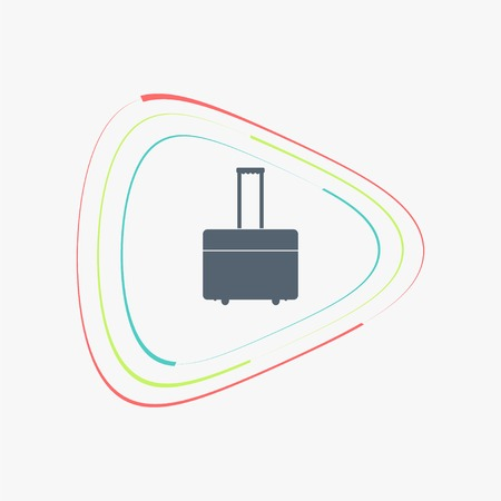 knapsack: Suitcase on wheels for travel. Flat design style. Made vector illustration