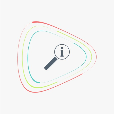 scrutiny: Magnifier with information icon. Flat design style. Made vector illustration