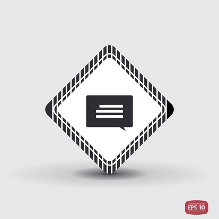 oration: Quote icon. Direct oration sign. Speech bubble symbol. Flat design style. Made in vector illustration