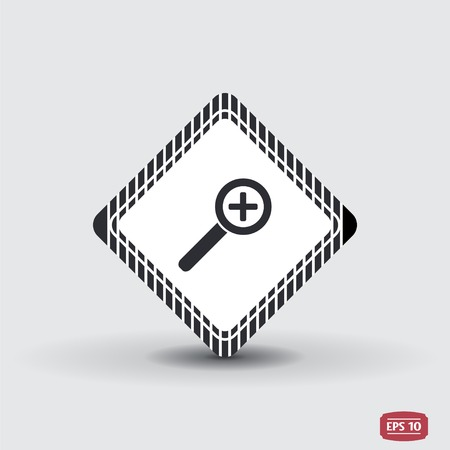increasing: Zoom in web icon. Magnifier with increasing. Flat style. Made in vector