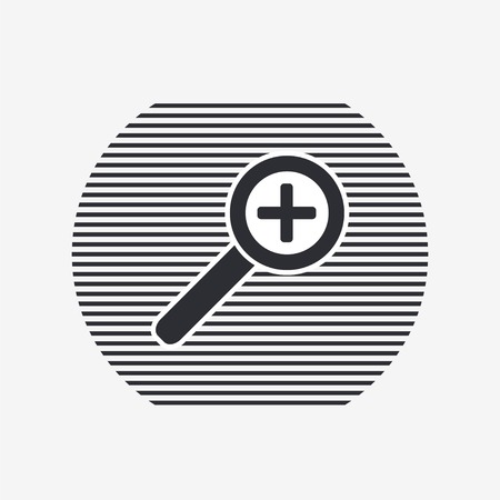 increasing: Zoom in web icon. Magnifier with increasing. Flat style.  Illustration