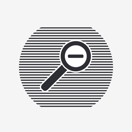 review site: Zoom in web icon. Magnifier with decreasing. Flat style.  Illustration