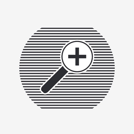 review site: Zoom in web icon. Magnifier with increasing. Flat style.  Illustration