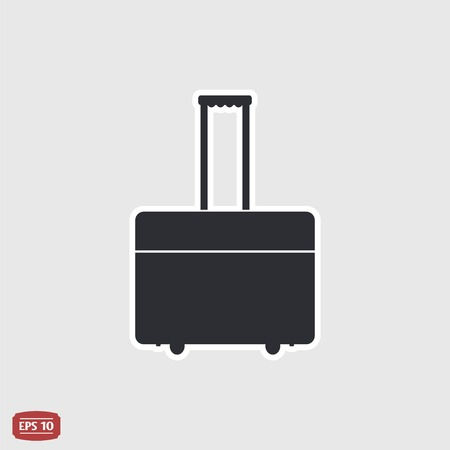 holdall: Suitcase on wheels for travel. Flat design style.