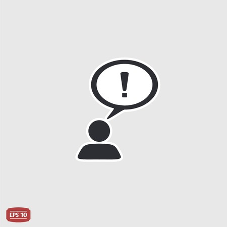 exclamation point: A person with a cloud. The exclamation point. Human thought bubble above his head. Flat design style. Illustration