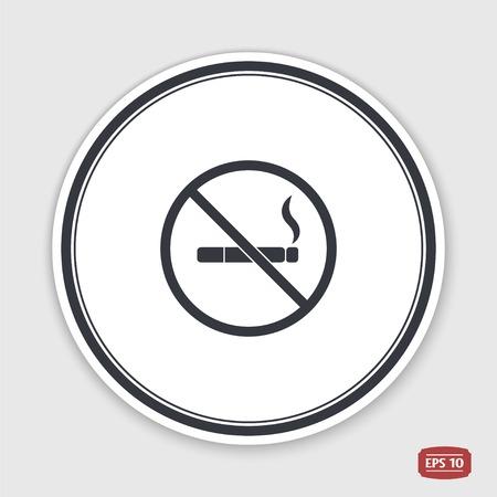 smoldering: No smoking sign. Flat design style. Made vector illustration. Emblem or label with shadow. Illustration