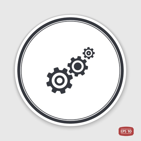pinion: Cogwheel and development icon. Flat design style. Made vector illustration. Emblem or label with shadow.