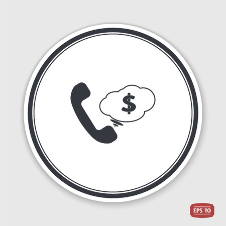 call button: Call Button. Cloud with money. Phone Icon. Handset Icon. Flat design style. Made vector illustration. Illustration