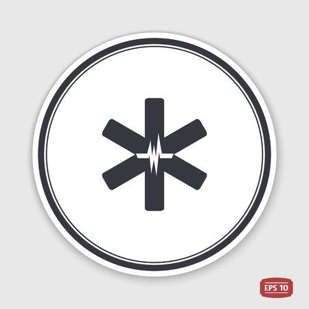 Medical sign with the pulse. Flat design style. Made in vector. Emblem or label with shadow. Vector
