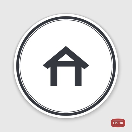 main entrance: Home icon. Flat design style. Made vector illustration. Emblem or label with shadow.