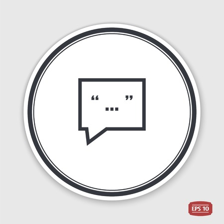 oration: Quote icon. Direct oration sign. Quotation mark in speech bubble symbol. Flat design style. Made in vector illustration. Emblem or label with shadow