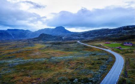 Norway Road Through the Mountains Stock Photo