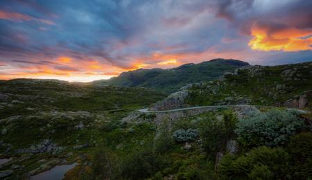 Norway Mountain Sunset taken in 2017 Stock Photo