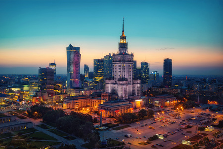 Aerial photo of the Palace of Culture and Science in Warsaw P taken in 2017