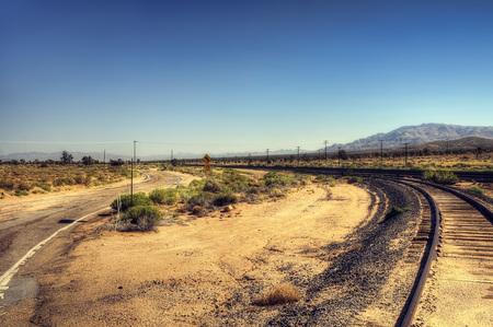 Mojave Desert Cross Roads taken in 2015 Stock Photo
